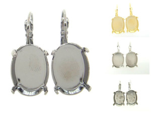Empty Earrings 18x13mm Oval Lever Back 3 Pairs
