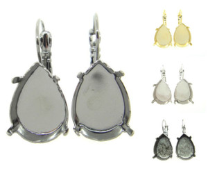 Empty Earrings 18x13mm Pear Lever Back 3 Pairs