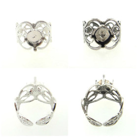 Filigree Adjustable Ring Empty 8.5mm 39ss Setting 3 Pieces