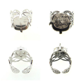 Filigree Adjustable Ring Empty 12mm Square Cushion Cut Setting 3 Pieces
