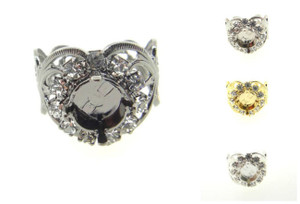 Filigree Ring With Empty 8.5mm (39ss) Setting & Crystal Rhinestones 3 Pieces