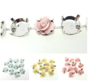Ceramic Flower Rose Element Fits 11mm Empty Chain 12 Pieces - Choose Color