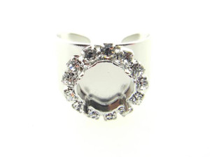 Adjustable Ring Shank Base with 10mm Square Cushion Cut Empty Setting & Crystal Rhinestones Rhodium 3 Pieces