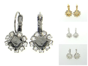 6mm (29ss) One Box Empty Earrings With Crystal Rhinestones One Pair