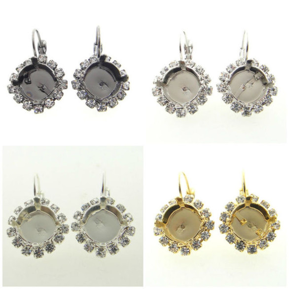 11mm (47ss) One Box Empty Earrings With Crystal Rhinestones