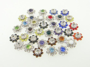 Austrian Crystal Daisy Flower Mixed Assortment Lot Rhodium Fits 8.5mm Empty Cup Chain 36 Pieces