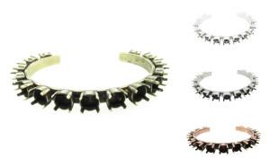 Empty Cuff Bracelets 15 8.5mm Settings 3 Pieces