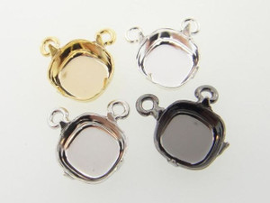 Empty 12mm Square Cushion Cut Single Pendant Center Piece Add Your Own Chain 3 Pieces
