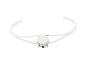 12mm Square Cushion Cut Empty Cuff Bracelets Rhodium Three Pieces