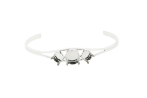 8.5mm and 11mm Empty Cuff Bracelets Rhodium Three Pieces