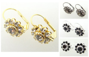 Austrian Crystal Flower Earrings Crystal or Jet 3 Pairs - Choose Your Finish