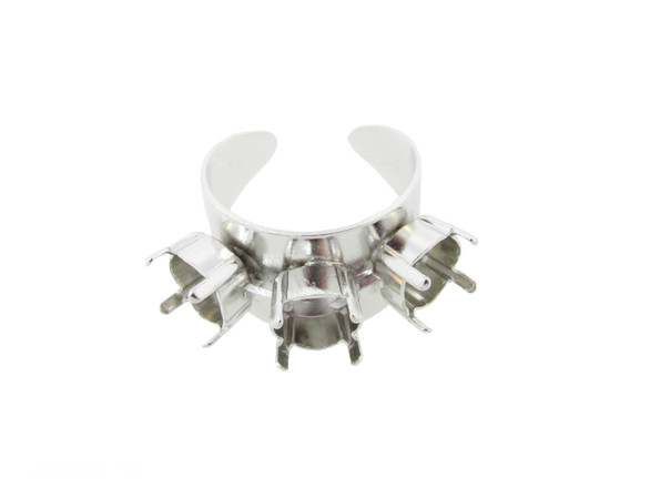 Adjustable Ring Shank Bases w 3 Empty 8.5mm 39ss Settings 5-10 Rhodium