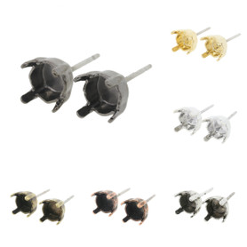6mm (29ss) Stud Empty Earrings 3 Pairs
