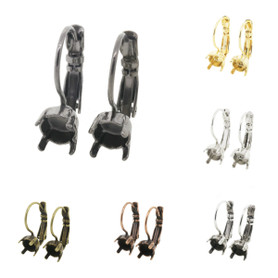 6mm (29ss) Lever Back Empty Earrings 3 Pairs