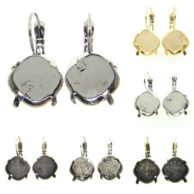 Empty Earrings 12mm Square Cushion Cut Lever Back 3 Pairs
