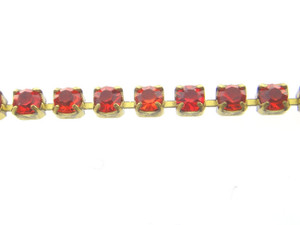 Amber Rhinestone Crystal Chain 2.5mm 10 Feet - Choose Finish