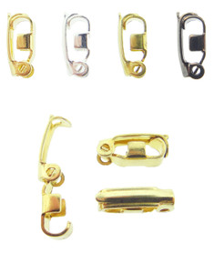 Fold Over Jewelry Clasps 100 Piece Assortment in Brass, Gold Overlay, Silver Overlay, & Hematite