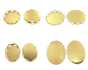 Brass Lace Edge Settings 36 Pieces - Choose Size & Shape