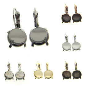 11mm 47ss LOW PROFILE Rivoli Round Lever Back One Box Empty Earrings  | Three Pairs