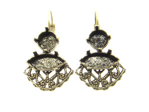 Filigree Empty Setting Earrings Style 7 - 8.5mm (39ss) & 15x7mm Navette Brass Ox 3 Pairs