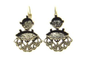 Filigree Empty Setting Earrings Style 7 - 8.5mm (39ss) & 15x7mm Navette Brass Ox