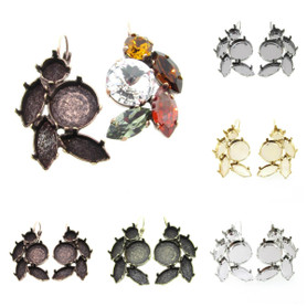 Empty Floral Mixed Size Cluster Earring 8.5mm (39ss), 15x7mm Navette, 14mm Rivoli Round 1 Pair
