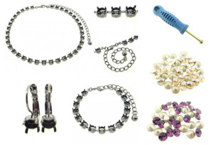 6mm (29ss) Empty Cup Chain Starter Kit - Choose Your Finish & Stone Colors