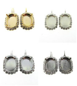 Empty Setting Earrings with Crystal Rhinestones 18x13mm Oval 1 Pair