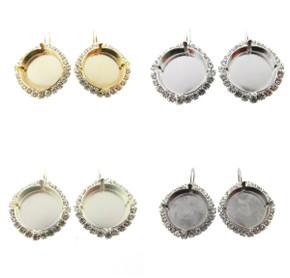 Empty Setting Earrings with Crystal Rhinestones 18mm Rivoli Round