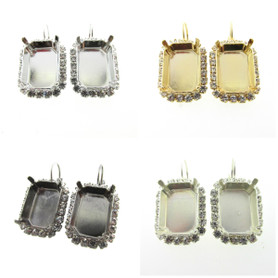 Empty Setting Earrings with Crystal Rhinestones 18x13mm Octagon