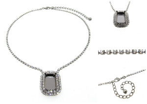 Empty Single Setting Necklace With Crystal Rhinestones 18x13mm Octagon
