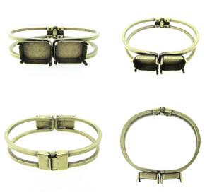 Empty Two Box 18mm x 13mm Octagon Hinge Bracelet 3 Pieces