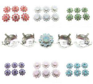 Austrian Crystal Flower Filigree Clusters Fits 11mm Empty Settings 6 Pieces