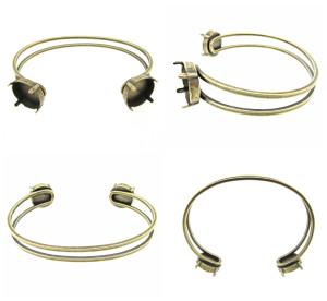 Empty Two Box 14mm Rivoli Round Cuff Bracelet 3 Pieces