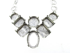 Empty Large Statement Necklace In Silver Ox Style 2 - 14mm, 18mm, 18x13mm Octagon, 20x15mm Octagon, & 25x18mm Oval 1 Piece