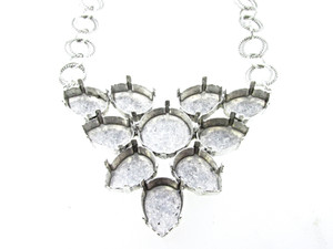 Empty Large Statement Necklace In Silver Ox Style 3 - 18mm Rivoli Round & 18mm x 13mm Pear 1 Piece