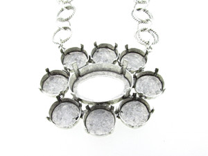 Empty Large Flower Statement Necklace In Silver Ox Style 4 - 12mm Rivoli Round & 25x18mm Oval 1 Piece