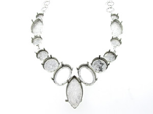 Empty Large Statement Necklace In Silver Ox Style 5 - 12mm Round, 14mm Round, 18mm Round, 25x18mm Oval, & 32x17mm Navette