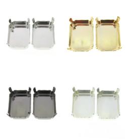 20mm x 15mm Octagon Stud Earrings 1 Pair