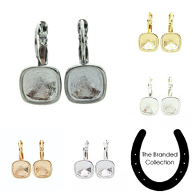 The Branded Collection - 10mm Square Cushion Cut Lever Back Casted Earrings 1 Pair