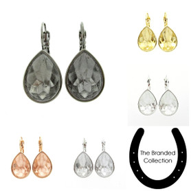 The Branded Collection - 18mm x 13mm Pear Lever Back Casted Earrings 1 Pair