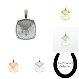 The Branded Collection - 12mm Square Cushion Cut Casted Single Pendant 1 Piece