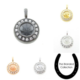 The Branded Collection - 8.5mm (39ss) Chaton Casted Single Pendant With Crystal Pave 1 Piece