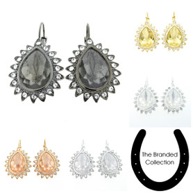 The Branded Collection - 18mm x 13mm Pear Lever Back Casted Earrings with Crystal Pave 1 Pair