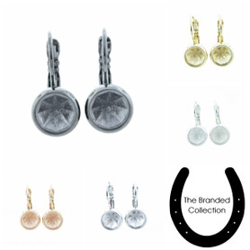 The Branded Collection - 8.5mm (39ss) Chaton One Box Lever Back Casted Earrings 1 Pair