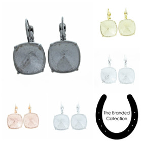 The Branded Collection - 12mm Square Cushion Cut Lever Back Casted Earrings 1 Pair