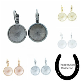 The Branded Collection - 12mm Rivoli Round Lever Back Casted Earrings 1 Pair