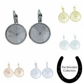 The Branded Collection - 14mm Rivoli Round Lever Back Casted Earrings 1 Pair