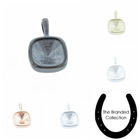 The Branded Collection - 10mm Square Cushion Cut Casted Single Pendant 1 Piece