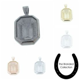 The Branded Collection - 18mm x 13mm Octagon Casted Single Pendant 1 Piece